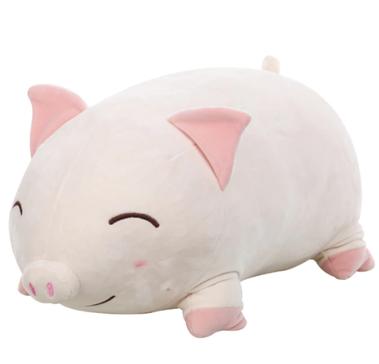 1PC 30cm Cute Fat Pig WHITE CLOSE EYES PLUSH M