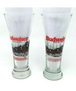 Vintage 1989 Budweiser Clydesdale Christmas Pilsner Beer Glasses 8'' (Se... - $16.66