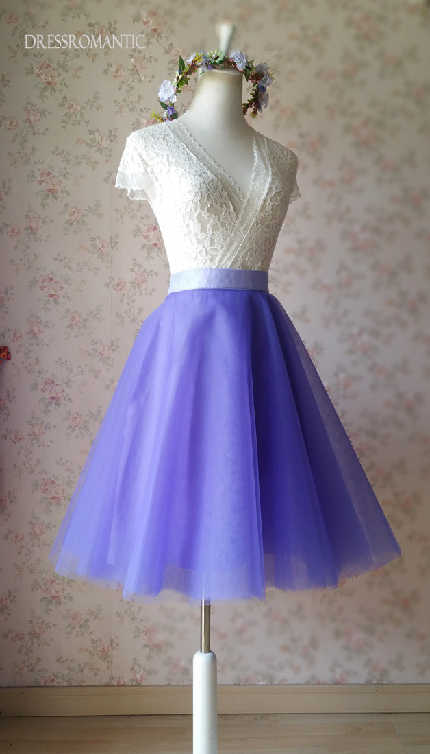 Light-Purple Knee Length Tulle Skirt Girls Plus Size Purple Tulle Tutu NWT