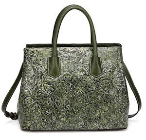 New Green Leaf Pattern Embossed Italian Leather Satchel Handbag Purse