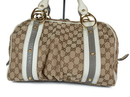 Auth GUCCI GUCCI GG Pattern Canvas Leather Browns Shoulder Bag GS2159 - $389.00