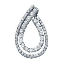 10k White Gold Womens Round Diamond Double Teardrop Pendant 1/2 Cttw - $450.00