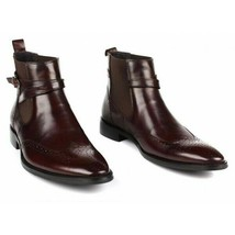 Brown Single Monk Rounded Buckle Strap Wing Tip Brogue Toe Leather Ankle Boots image 2