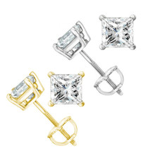 2.90ct Women Square Princess Moissanite 14k Gold Stud Earrings Charles &... - $816.64
