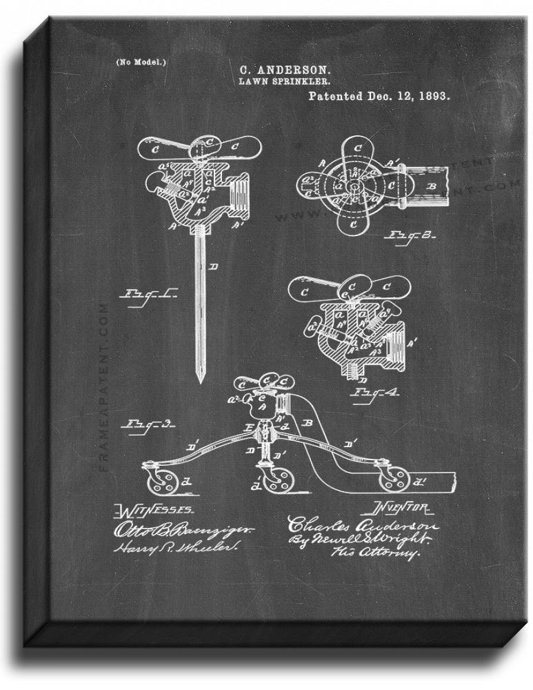 Primary image for Lawn Sprinkler Patent Print Chalkboard on Canvas