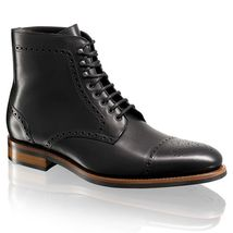 Handmade mens fashion black ankle leather boots, Men lace up boots, Men boots  - $179.99