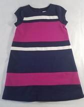 GYMBOREE CHARM CLASS Girl Striped Ponte Dress Size 4 Girls Navy Hot Pink - $9.79