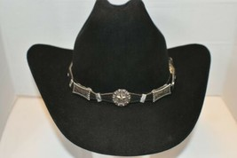 Black Leather Hatband Scalloped W Blue Rhinestones,Silver Berry Star+Bar Conchos - $35.14