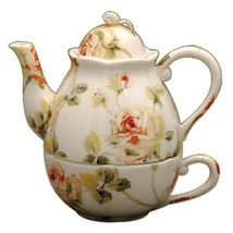Gracie China Pink and Green Rose Porcelain 3-Piece Tea Set for 1 - $32.60