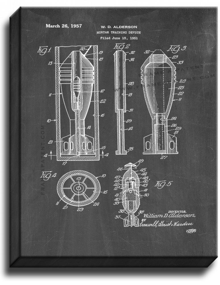Primary image for Mortar Training Device Patent Print Chalkboard on Canvas