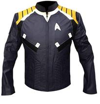 Mens Star Trek Beyond Chris Pine Captain Kirk Costume Leather Jacket image 1