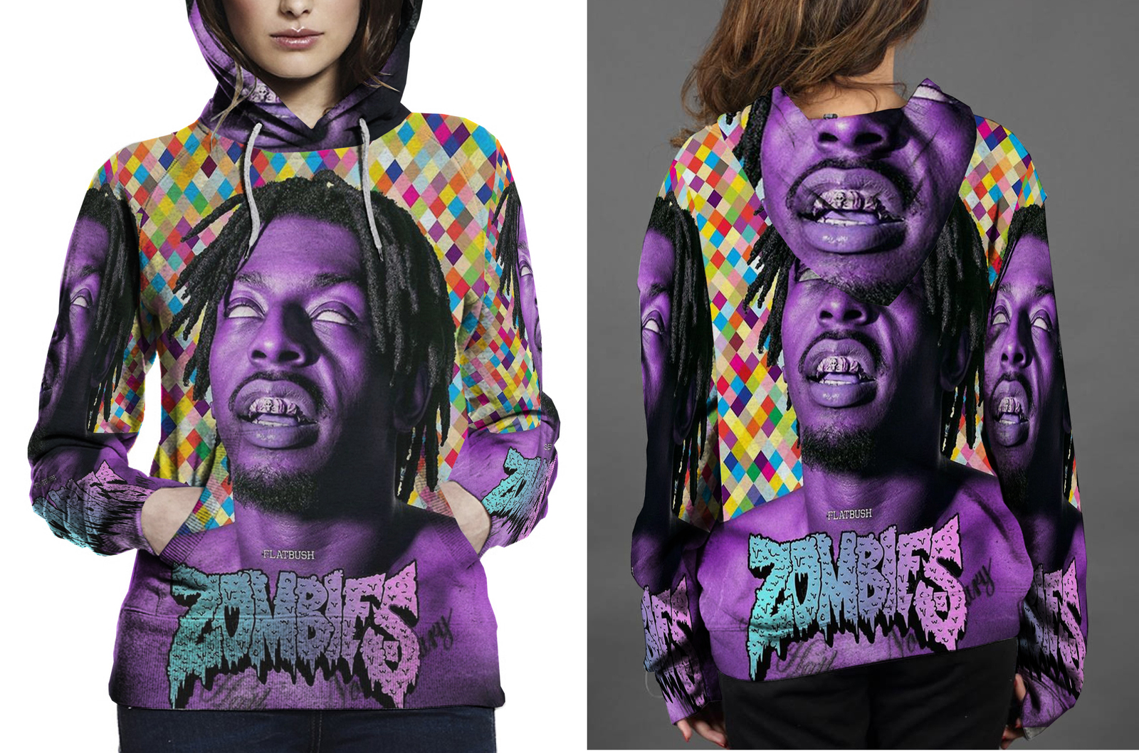 Flatbush zombies hoodie  fullprint for women