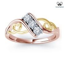 Two Tone Plated 925 Silver Bypass Engagement Ring In Round Cut White Sim... - ₨5,087.96 INR