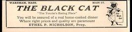 BLACK CAT Chef Restaurant Wareham MA 1927 Cape Cod AD - $10.99