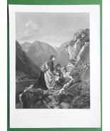 TYROL WOMEN High Alps Prayer to Crucifix on Rock - FINE QUALITY Antique ... - $14.85