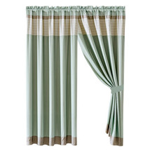 4-Pc Colette Curtain Set Drape Sheer Liner|Pleated Stripe|Taupe Beige Mint Green - $40.89