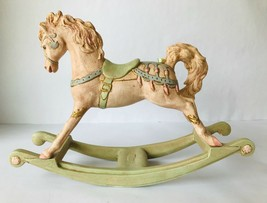 Rocking Horse Decor Hand Painted Ceramic Pastel Colors Signed D.J. 1984 - $33.85