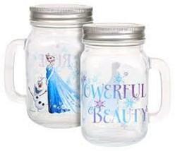 Disney Frozen Elsa, Olaf Mason Jars with Handles & Lids Glass NEW Set of 2 - $11.65