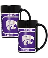 NCAA Kansas State Wildcats 2-Piece 15 Oz. Coffee Mug Set w/ Metallic Gra... - $31.64