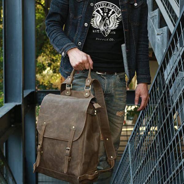 Sale, Handmade Men Backpack, Horse Leather Travel Backpack, Vintage Laptop Backp image 6
