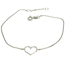 18K WHITE GOLD SQUARE ROLO MINI BRACELET, 7.1 INCHES, OPENWORK HEART, IT... - $115.00