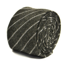Frederick Thomas charcoal grey/gray striped tie FT2150 100% wool RRP£19.99