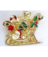 Santa Sleigh Teddy Bear with gold enamel brooch... - $12.00