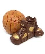 Vintage Ceramic Basketball w/ Air Jordan Style Brown Sneakers Coin Piggy... - $62.99