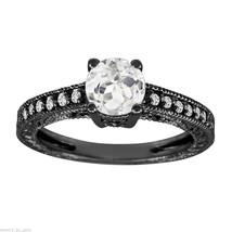 1.00 CARAT WHITE TOPAZ AND DIAMOND ENGAGEMENT RING 14K BLACK GOLD VINTAG... - $1,100.00