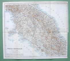 "1909 MAP ORIGINAL Baedeker - CENTRAL ITALY 11"" x 12"" (28 x 30 cm) - $5.07"
