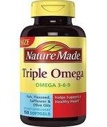 Nature Made Triple Omega 3 6 9 - Fish Flaxseed Safflower & Olive Oils So... - $29.99