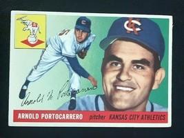 1955 Topps Baseball Card #77 ARNOLD PORTOCARRERO - Kansas City A's - $4.90