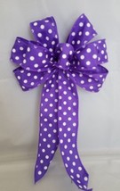 """4 Small 5-6"""" Hand Made Purple Polka Dot Bows -  Indoor Outdoor Wreath Sp... - $9.90"""