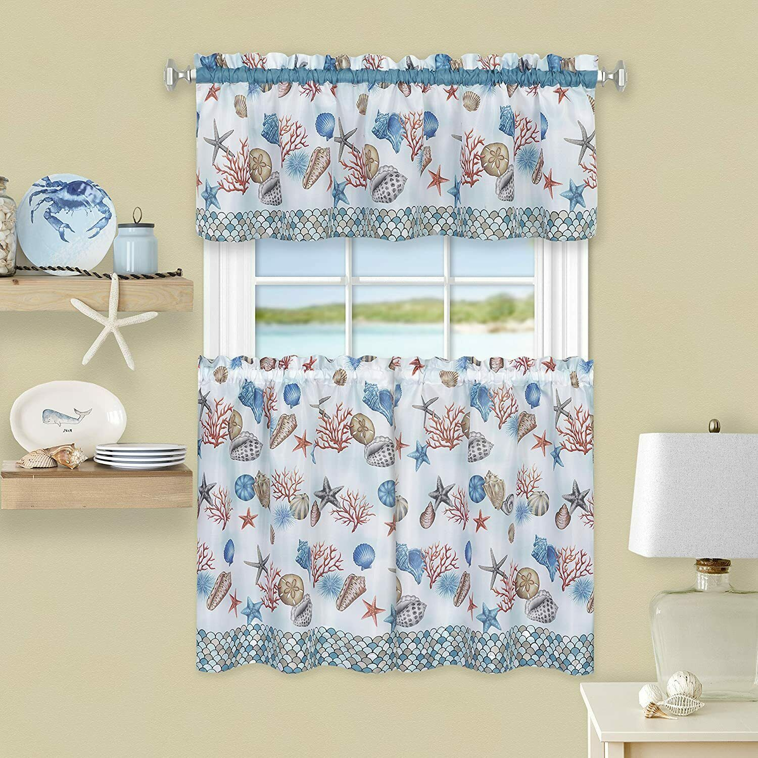 "Primary image for Achim Home Furnishings, Blue Coastal Tier and Valance Window Curtain Set, 58"" x"