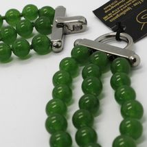 GREEN JADE 925 STERLING YELLOW BURNISHED SILVER NECKLACE STRAND, THREE WIRES image 4