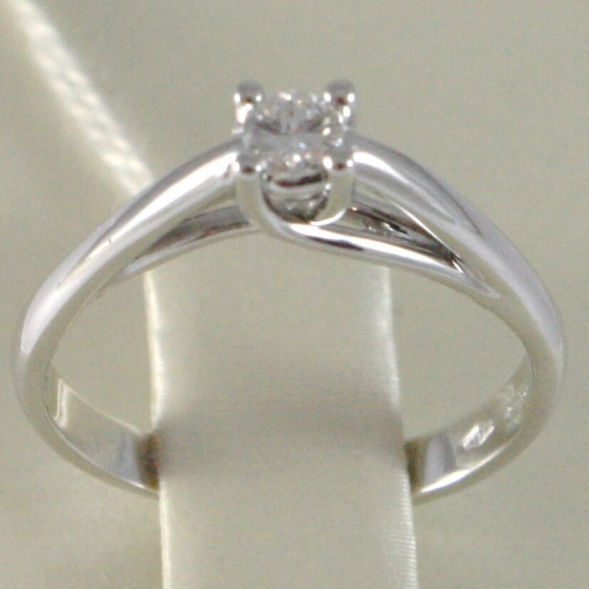 White Gold Ring 750 18K, Solitaire, Shank Crown, Diamond, TCW 0.11