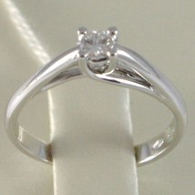 White Gold Ring 750 18K, Solitaire, Shank Crown, Diamond, TCW 0.11 image 1