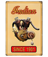 Indian Motorcycle Motor 1901 Metal Sign 12x18 - $25.74