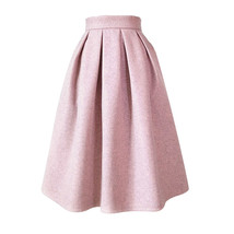 Lady Pink Winter Wool Skirt Pink High Waist Midi Pleated Skirt Winter Pa... - $65.99