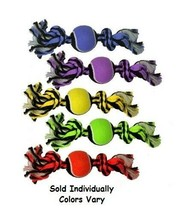 """Tennis Tug Dog Toy Tough Durable Rope Chew Fetches Two Knot Ball 10"""" Col... - $10.78"""