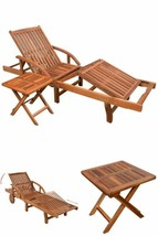 Wooden Garden Chaise Lounge Hotel Pool Outdoor Patio Sunlounger Sunbed T... - $225.25