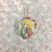Precious Moments Heart Shaped Small Ornament w Blonde Girl Bird Flowers Vtg 1996 - $10.39