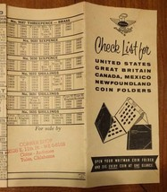 Vintage Whitman Check List for Coin Folders Pamphlet Sales Aid - $11.64