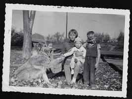 Antique Vintage Photograph Three Children in Park w/ Puppy Dog - Saddle ... - $6.93
