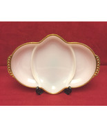 Vintage fire king milk white with gold trim divided dish thumbtall