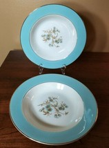 "Lot 2 Vintage Homer Laughlin Eggshell Cavalier CV 69 turquoise 8.25"" cereal bowl - $24.28"