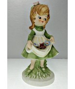 Girl with Flowers in Her Apron Porcelain Figurine - $14.95