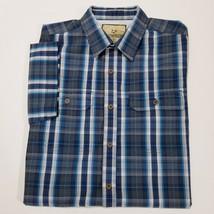 OUTDOOR LIFE Mens Stretch Blue Plaid Shirt Size M Short Sleeve Button Front - $16.55