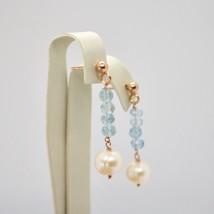 Boucles D'Oreilles Pendantes en Argent 925 Laminé Or Rose avec Perles Et image 2