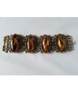 Vintage Fashion Jewelry Set Gold Tone Amber Tortoise Shell Bracelet With... - $24.26